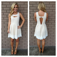 Cream Sleeveless Bow Back Dress