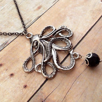 Silver Octopus Necklace, Black Crystal Drop