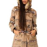 The Davina Coyote Fur Trim Patterned Coat