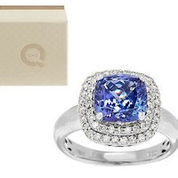 Premier 2.20 ct Cushion Cut Tanzanite & Diamond Ring w/ box, 14K — QVC.com