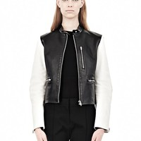 Black And White Zip Up Moto Jacket With Contrast Sleeves - Alexander Wang