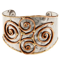 Handcrafted Brass and Copper Stainless Steel Hammered Cuff Bracelet (India)