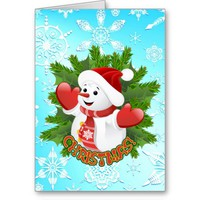 Cute Snowman and Crystal Snowflakes Christmas Card