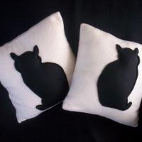 Black Stuffed Cat on Ivory Throw Pillow 14 x 14 by dreampillows