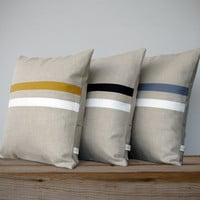 Signature Striped Pillow (16x16) Modern Classic | Home Decor by JillianReneDecor | Black and White | Mustard Yellow | Gray