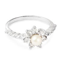 Simply Silver Pearl flower and cubic zirconia sterling silver ring - Simply Silver from Jon Richard UK