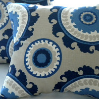 Pillow cover Navy Suzani Indigo Blue Cream Taupe 16 x 16