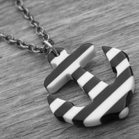 Anchor Necklace Anchor Jewelry Nautical Rockabilly Pin Up Girl Tattoo Anchor Punk Rock Black and White Striped Anchor Beetlejuice Stripes