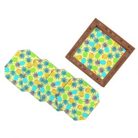 Lisa Argyropoulos Pineapple Pandemonium Yellow Coaster Set