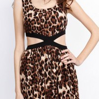 Animal Print Cut Out Skater Dress