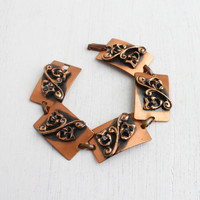 Vintage Copper Tragedy & Comedy Bracelet - 1970s Twin Masks of Humor Retro Jewelry / Linked Bracelet