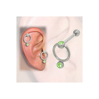 Cartilage-Tragus Door Knocker Design with Jewels(16G-3/8 In-10mm) - PFSS-77-8-G