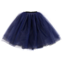 Black and navy blue multi-layered reversible tulle skirt tutu adjustable black grosgrain ribbon waist (size S-M)