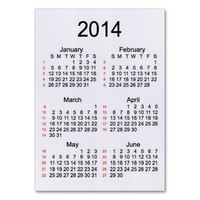 Linen 52 Week Calendar 2014 Business Cards