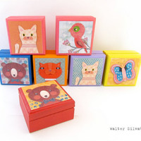 Animal Wood Keepsake Boxes - Bird - Cat - Bear - Tabby Cat - Butterfly - Assorted Wooden Animal Keepsake Boxes