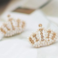 Pearled Crown Rhinestone Earrings