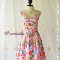 Glamorous Floral Tea Dress - Sweet Gorgeous Floral Cotton Tea Dress Party Dress Vintage Style Dress Prom Night Dress Day Dress
