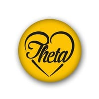 Kappa Alpha Theta Sorority Spirit Button - Heart