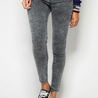 Grey Wash Zipper Skinny Jegging