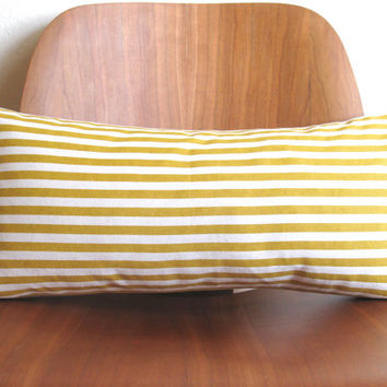 Yellow Mustard Stripe Pattern Rectangle Pillow