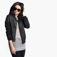 Women's Quilted Bomber Jacket (Black)