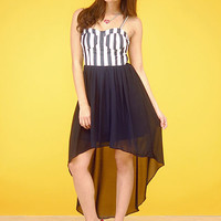 Cute Dresses-Black Bustier Chiffon Hi/Lo Dress -Sexy Dresses-$34.99