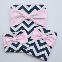 Coordinating Set of Cases - MacBook, iPad / Pad Mini, and Free Cosmetic Case - Navy and White Chevron Light Pink Bow - Padded