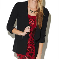 Zipper Rolled Cuff Jacket | Wet Seal