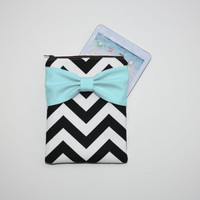 iPad Mini - Kindle - Nook - eReader Case - Black and White Chevron Aqua Bow - Padded