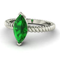 Marquice cut emerald solitaire 14k gold ring with Twisted Band - Adorna