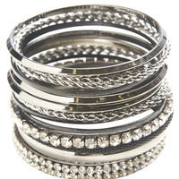 Rhinestone Bangle Bracelet Pack