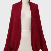 Greet The Day Cocoon Cardigan In Red