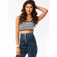 Houndstooth Cropped Top - GoJane.com