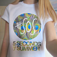 5SOS Five Seconds Of Summer Peacock Feather Winter Holiday White Short Sleeved TShirt Unisex Adult Size Small, Medium, Large and XLarge