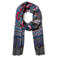 Wool/Silk Scarf, Gray/Blue