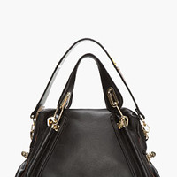 BLACK LEATHER PARATY MILITARY BAG