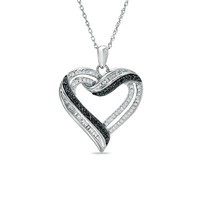1/2 CT. T.W. Enhanced Black and White Diamond Heart Pendant in Sterling Silver