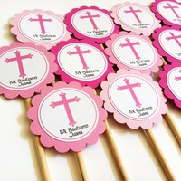Cross Cupcake Toppers for Baptism or First Communion, Personalized
