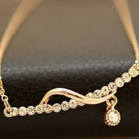 Sparkly Golden Melody Rhinestone Necklace