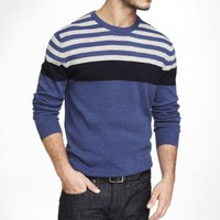 PLACED STRIPE COTTON CREW NECK SWEATER