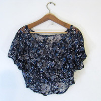 STOREWIDE SALE... vintage see through lace cropped belly shirt // blue and white floral top // women's size M-L