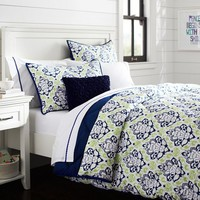 Decorator Damask Super Pouf Comforter + Sham, Navy Mint