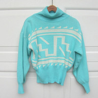 STOREWIDE SALE... Vintage 1980s turquoise turtleneck graphic sweater // M