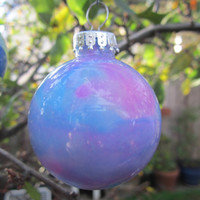 Hot Pink and Aqua Blue hand painted Glass Christmas Ornament, glow in the dark, Christmas decoration with ice blue glow pigment