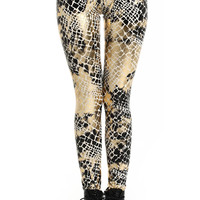 ROMWE | ROMWE Snake Print Gold-tone Leggings, The Latest Street Fashion