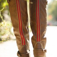 Saddle Up Tall Red Zipper Riding Boots - Tan
