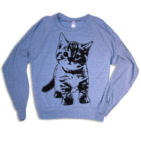 Womens KITTEN american apparel Tri-Blend Long Sleeve Raglan Top S M L (Athletic Blue)