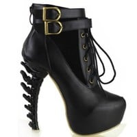 Show Story Lace Up Buckle High-top Bone High Heel Platform Ankle Boots,LF40601