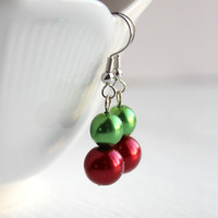 Red and Green Pearl Dangle Earrings - Handmade Christmas Jewelry - Ready to Ship