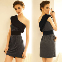 Women Korean Tiered Crimp Oblique One Shoulder Shift Vogue Mini Dress 70260710